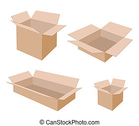 Different Size of Open Blank Brown Cardboard Boxes - Various...