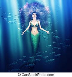 美しい, 女,  mermaid, 海