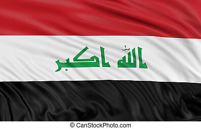 3D Iraq flag with fabric surface texture. White background.
