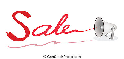 Megaphone Shouting Word Sale on White Background