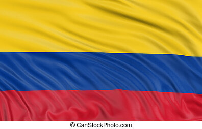 3D Colombian flag with fabric surface texture. White...