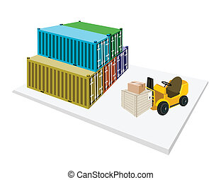 Forklift Loading Shipping Boxes into Freight Containers