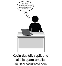 Spam Emails - Kevin replied to his spam emails cartoon...