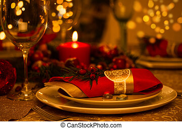 Christmas Table Setting with Holiday Decorations -...