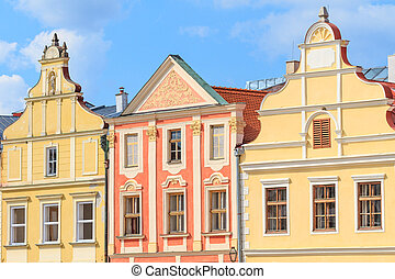 Facade of Renaissance houses in Telc, Czech Republic (a...