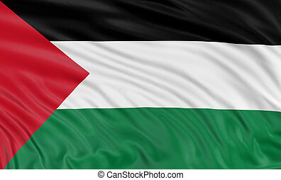 3D Palestinian flag with fabric surface texture. White...
