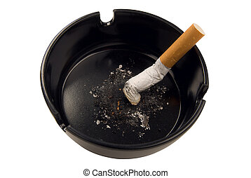 cigarette butt in ashtray - cigarette butt in a black...