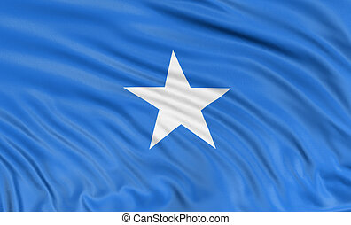 3D Somali flag with fabric surface texture. White...