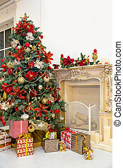 Christmas tree in modern interior living room - Decorated...