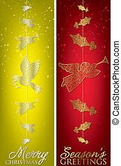 Formal Christmas filigree banners in vector format