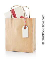 Paper bag with gift - Brown paper bag with gift and paper...