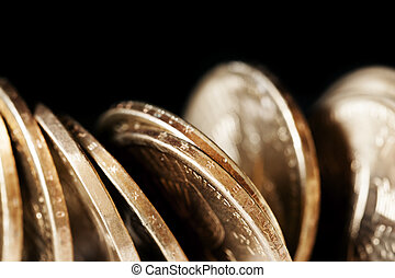 Coins over Black - American dollar coins over black...