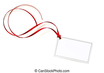 Blank Gift Tag with Red Curling Ribbon