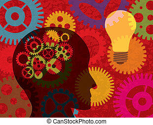 Human Head Silhouette with Gears Background Illustration -...