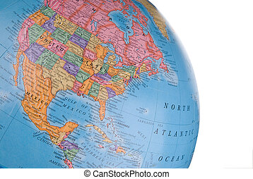 Globe focusing on North America with clipping path