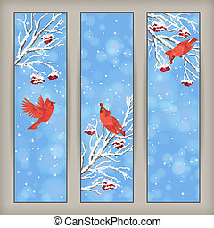 Vertical Christmas Banners Bird Rowan Branches - Vertical...