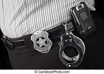 policía, detectives, cinturón