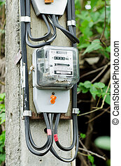 electricity meter on column