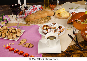 Hanukkah - Full frame take of a table with traditional...