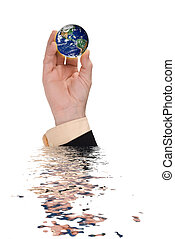 Businessman hand holding a globe with reflection