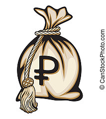Money bag with ruble