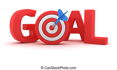 Goal for the goal - Word Goal with small dartboard on white...