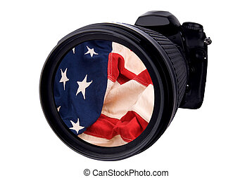 Digital DSLR Camera with flag isolated over white with a...