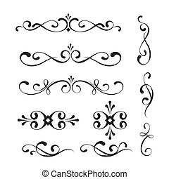 Decorative elements and ornaments - Set of decorative...