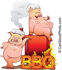 Two smiling pigs in chefs hats standing near the red smoker...