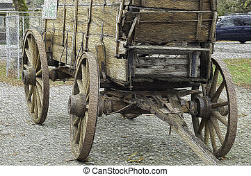 Old Wagon - Old rustic wagon from a by gone era with a...
