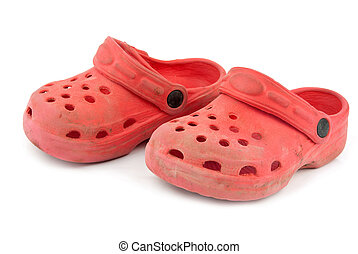 rubber slippers - red rubber slippers are isolated on white