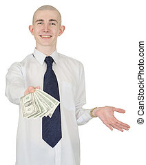 Smiling man with money in a hand - The smiling man in a...