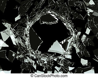 Bullet hole Shattered glass on black background. Large...