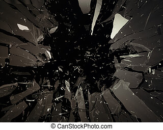 Destructed or shattered glass isolated on black - Destructed...