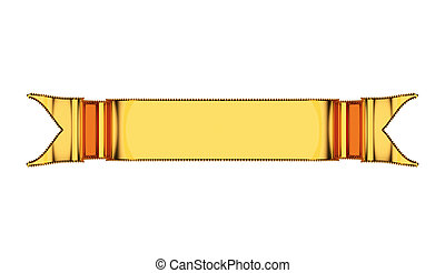Golden ribbon with ripples useful as badge, emblem or...