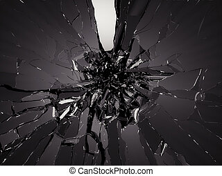 Pieces of Broken Shattered black glass. Large resolution