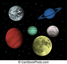 Solar system and space objects isolated on black