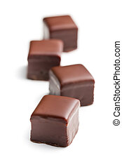 chocolate praline on white background