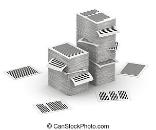 Pages paper stacks 3d isometry - Several stacks of paper...