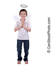 Young boy in an angel costume with wings and a halo isolated...