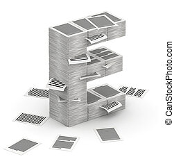 Letter E, pages paper stacks font 3d isometry - 3D isometric...