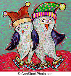 doodle penguin couple ice skate, digital painting...