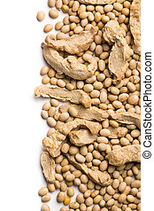 soybeans and soy meat - top view of soybeans and soy meat on...