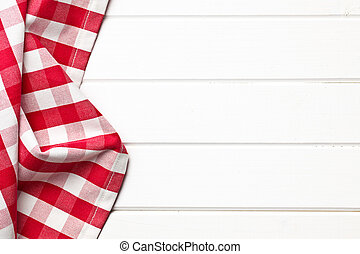 checkered napkin - top view of checkered napkin on white...