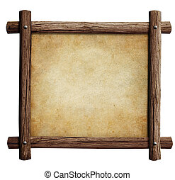 old wooden frame with paper or parchment background isolated on white
