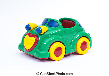 Green toy car in profile - Green, blue and yellow toy car