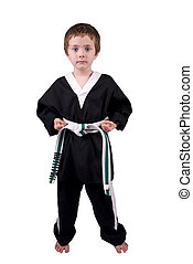 Boy Wearing Karate Outfit - Young boy Wearing Karate Outfit...