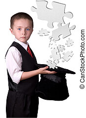 Child Magician with puzzle pieces - child dressed as a...