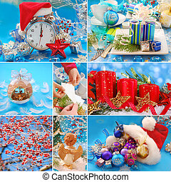 collage with christmas decorations in red and blue colors