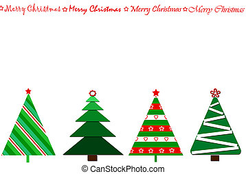 festive card design with christmas trees in a row - festive...